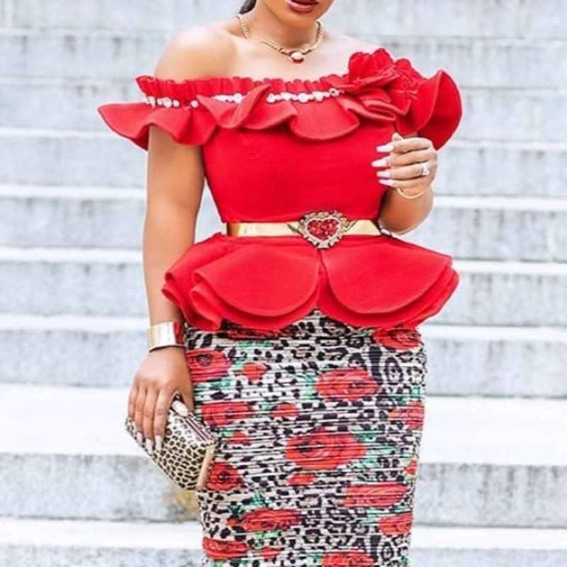 夏のエレガントなセクシーなクラブプラスサイズプリーツブラウス女性チュニックオフショルダーレッドフリルヴィンテージアフリカペプラム秋トップスシャツ