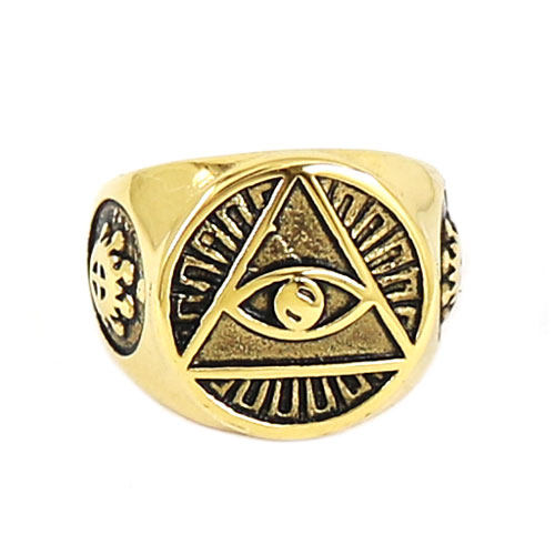 Online Shop Illuminati Pyramid Eye Symbol Ring Stainless Steel