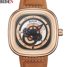 New Style Design Biden Mens Quartz Watches Luxury brand Genuine leather Sport Army man Military Wrist Watch men 3ATM Clock male