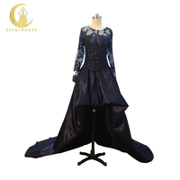 Jialinzeyi реальное изображение Темно синие одежда с длинным рукавом Кружево с Бусины пикантные прозрачные Топ атлас спереди Короткие Длинные В