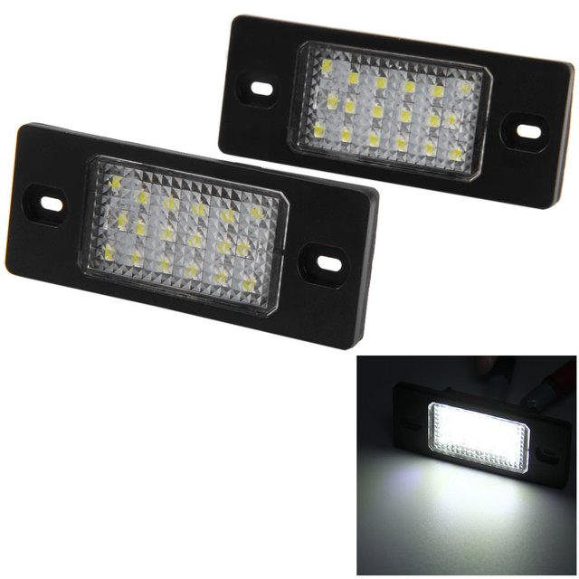 Auto License Plate Light Bulb Lamp with 18 LEDs Super Bright White Light 12V Number for Porsche Cayenne VW Touareg Passat - 2pcs