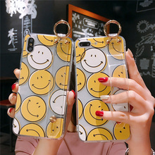 smile emoji tpu case for iphone XS MAX XR X 7 8 6 6S plus cover fashion wristband holder soft transparent phone bag capa fu