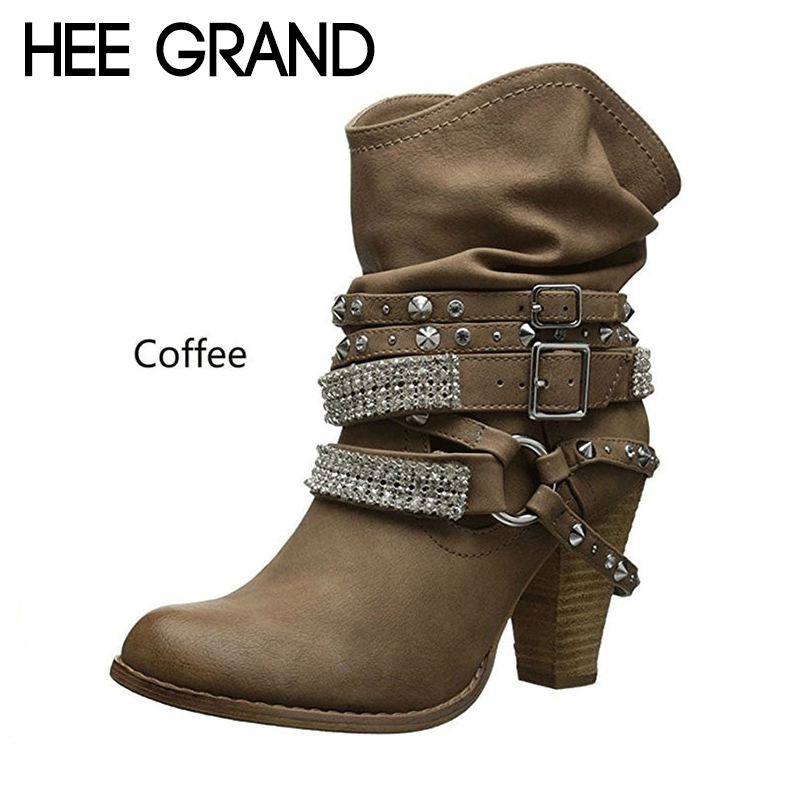 US $17.99 40% OFF|HEE GRAND 2018 Neue Frauen Mode Stiefel Schnalle High Heel Stiefel Winter Schuhe Motorrad Stiefeletten Mujer Bootie XWX6928 in