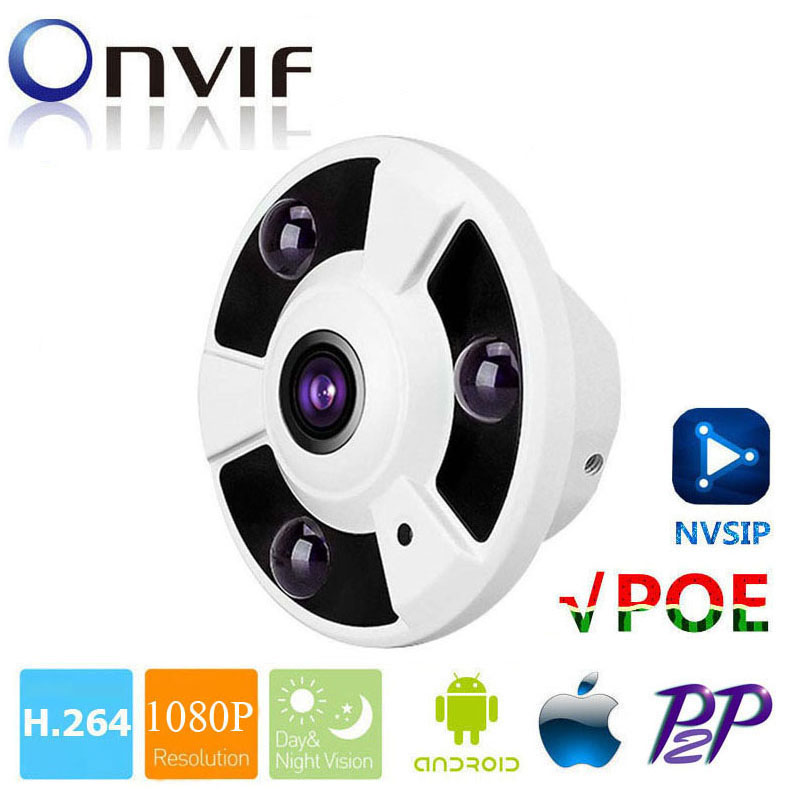 HD 1080P IP Camera POE Onvif Fisheye Panorama 5MP Lens IR CUT Night Vision HD Security CCTV Camera 2MP 360 Degree View P2P NVSIP 1 to 4 video cutting panorama ir ip camera poe 3mp 360 degrees view fisheye cctv camera support onvif p2p cloud ie view