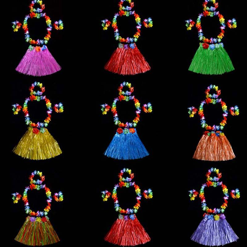 Novi 40cm otroški havajski cvet Hula Lei Garland trak zapestnice krilo kostum Set rojstni dan rojstni dan