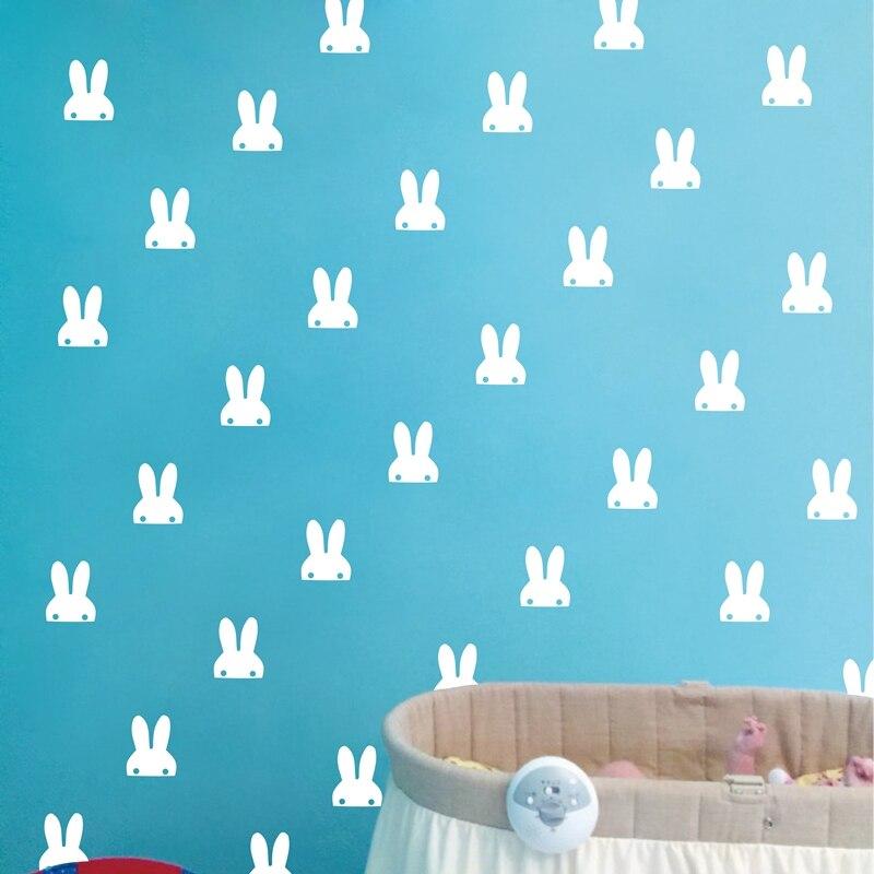 אוזני ארנב לחיות מחמד קיר מדבקה, ארנב חמוד ויניל מדבקות מדבקה לבנה קישוט חדר אמנות קיר Nusery ארנבות