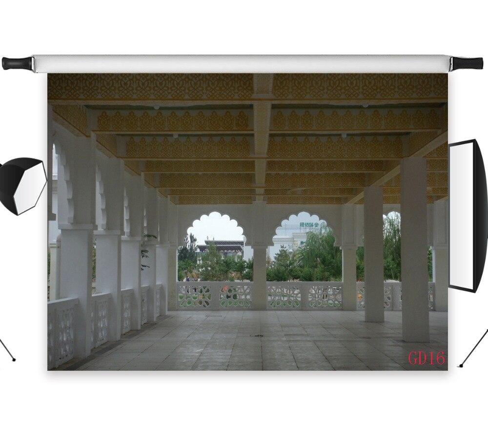 LB 9x6FT palais rétro style romain magnifique Gazebo sans couture lavable sans plis Polyester toile de fond photographie Studio