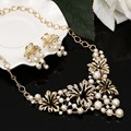 ZOSHI Gold Plated Drop Earrings Statement Necklace for Women Jewelry Sets Hollow Flower Simulated Pearl Jewelry Set