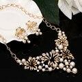 Zoshi chapado en oro pendientes de gota collar llamativo para las mujeres juegos de joyería hueco flor de la perla simulada de la joyería