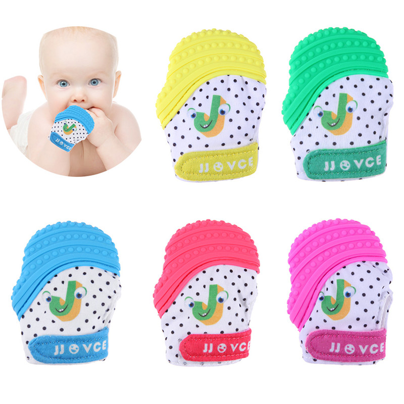 2018 Baby Glove Silicone Teether Beads Cartoon Thumb Sucking Sound Glove Teething Chewable Nursing Beads Baby Gift Dropshiping