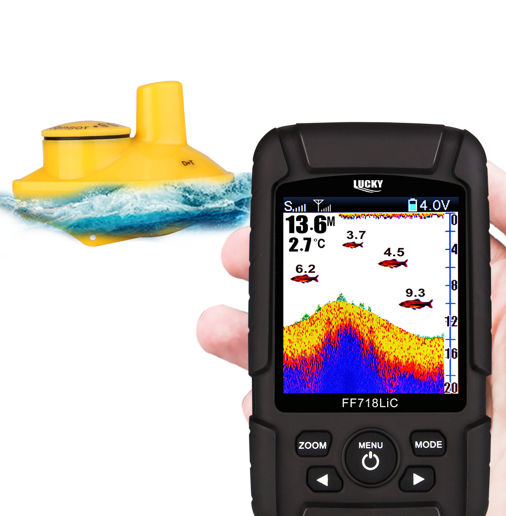 Lucky FF718LiC-W Wireless Color Screen Fish Finder 125kHz 45M/147Feet Sonar Depth Waterproof Floating Fishfinder Fishing Tools эхолот скат два луча lucky ff 718 duo