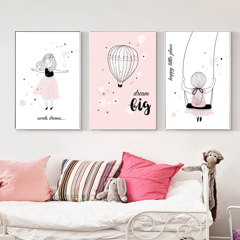 Poster Baby Room Picture Nordic Style Kids Decoration Infantil Pink Girls Room Cuadros Cartoon Wall Art Canvas Painting Unframed