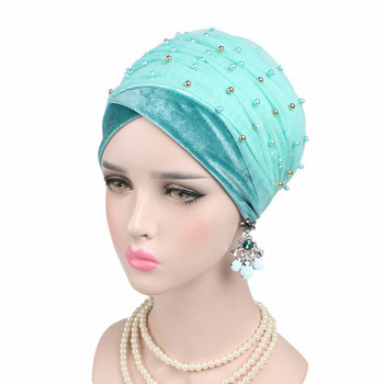 New Women Velvet Beading Scarf Hat Muslim Hijabs Turban Hats Indian Caps Wrap Cap long head scarf headscarf hats