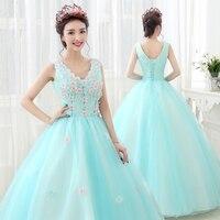Sleeveless Coral Quinceanera Dress Floor Length Ball Gown Blue Puffy Sweet Dress Vestidos De Festa 15 Anos