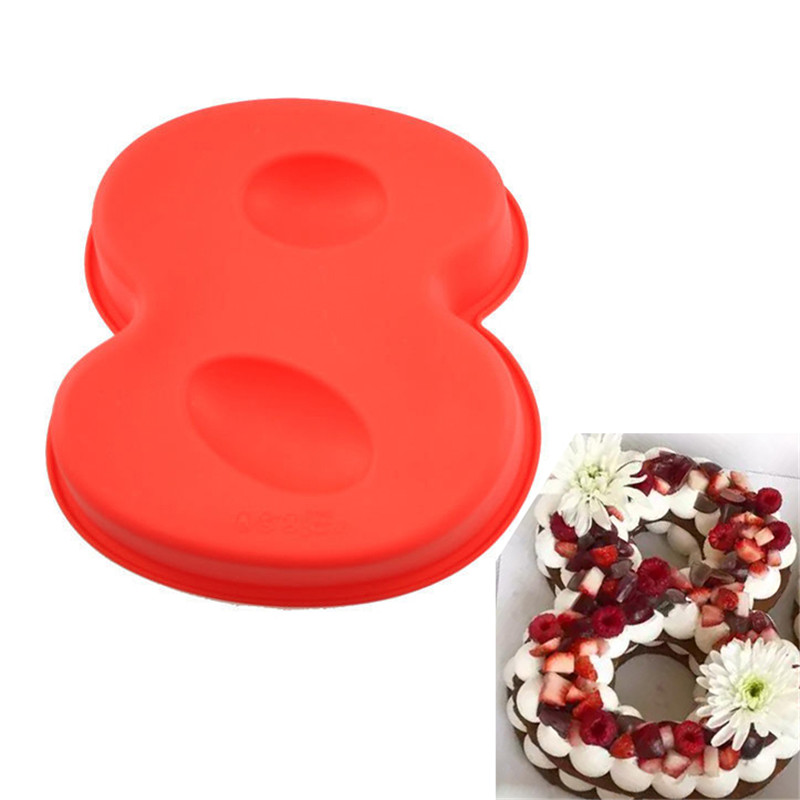 100% Food Grade Large Non-stick Silicone Jersey Number 8 Cake Mold Pan DIY Baking Tin <font><b>Birthday</b></font> Wedding Anniversary <font><b>8th</b></font> Cake Moul image