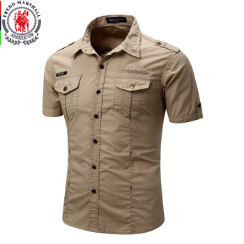 Men's Shirt 2017 New Men Cargo Shirt Fashion Casual Shirt Summer Style 100% Cotton Solid Mens Casual Shirt Plus Size S-XL 55888