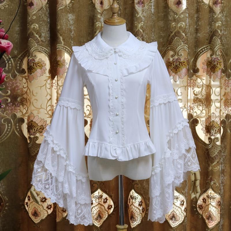 Vintage Lolita Lange ärmeln Hemd Chiffon Splice Spitze Hemd Frühling Und Herbst Weiblichen Harajuku Frauen Bluse Top