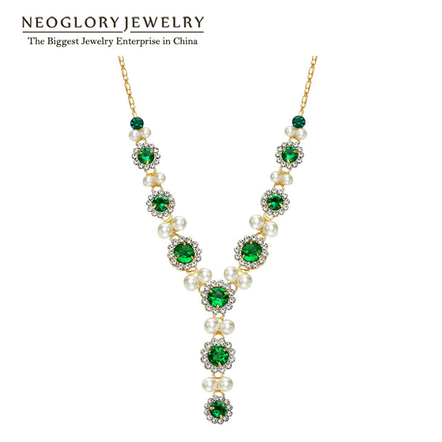 Neoglory Austrian Rhinestone Gold Plated Simulated Pearl Green Zircon Chain Necklaces For Women 2017 New Fashion ZPR1 QC3