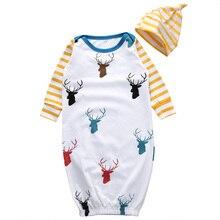 2 шт./компл.! хлопковый комбинезон для новорожденного, для маленьких девочек одежда для сна для мальчиков и ночные рубашки одежда с Комплект одежды с шапочкой