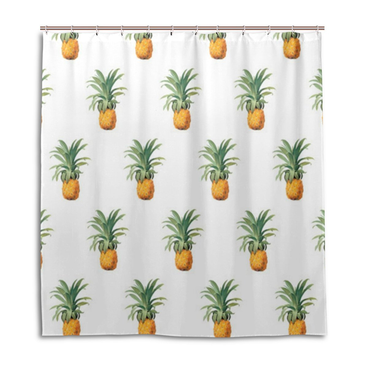 nanaz pineapple pattern print polyester fabric shower curtain for home bathroom decorative bath curtains with plastic hooks