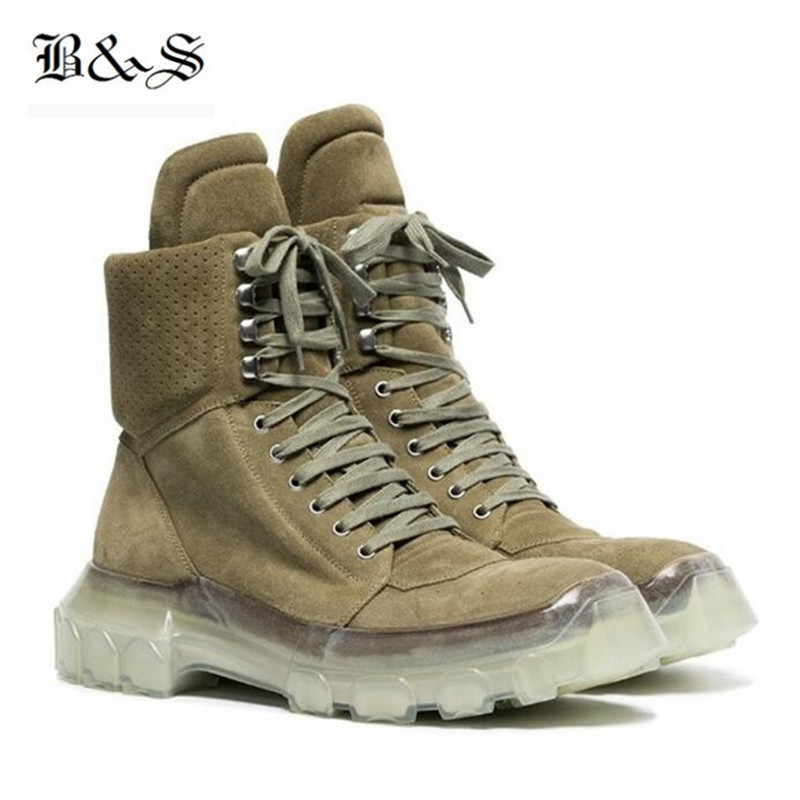 Black& Street 2018 New Winter genuine leather desert Martin Boot handmade suede Transparent bottom lace Up military B цена