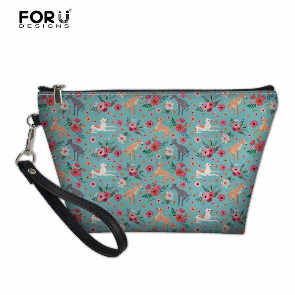 FORUDESIGNS Greyhound Flower Print Women Professional Cosmetic Bags Cute Makeup Cases Small Brand Designer Girls Mekeup Box Bags