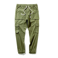 Mens High Street Fashion Pants Elastic Waist Solid Colors High Quality Multi Pockets Design Hip Hop