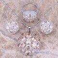 Brown Morganite Jóias de Prata Conjuntos Brincos Pingente Anel Para Mulheres tamanho 6/7/8/9/10 S0020