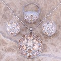 Brown Morganite Silver Jewelry Sets Earrings Pendant Ring For Women Size 6 / 7 / 8 / 9 / 10  S0020