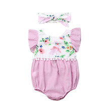 Cute Baby Girl Floral Bodysuit Jumpsuit+Headband Infant Clothes Outfit Little Girls Clothing Kid Clothes Roupa Infantil Menina(China)