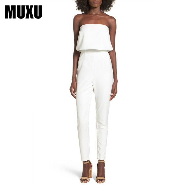 18e87c15eba Online Shop MUXU sexy white jumpsuit women elegant backless europe and the  united states jumpsuits rompers ladies jumpsuits romper overall
