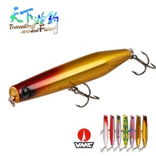 TAF 115mm 22g Hot Popper Fishing Lure Top Water ABS Plastic Hard Bait Equipped with 2 France VMC Hooks Carp Tackle