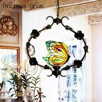 Mediterranean creative single head butterfly chandelier lamp restaurant entrance aisle balcony retro stained glass chandelier