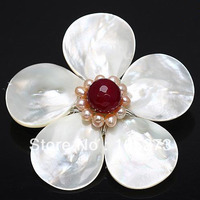 New Arriver 4 20mm White color Shell MOP & Pink Pearl Crystal Beads Flower Pin Brooch Pendant 57mm Handcrafted Fashion Jewelry