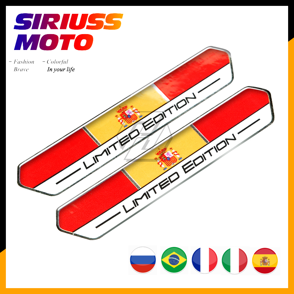Spain Italy France Russia Flag Limited Edition Motorcycle Tank Decal Sticker Case For Aprilia Ducati MONSTER Duke Benelli Vespa
