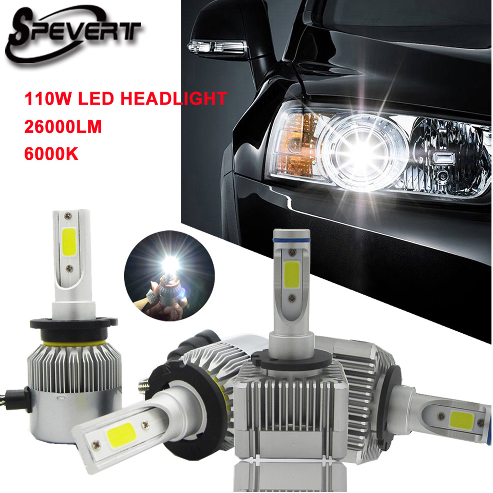SPEVERT H1 H4 H7 H11 D1S D3S D2S D4S LED Car Headlight Bulb Replace Xenon HID Fog light 110W 26000LM 6000K Auto Headlamp 12v 24v 2017 infant romper baby boys girls jumpsuit new born bebe clothing hooded toddler baby clothes cute stitch romper baby costumes