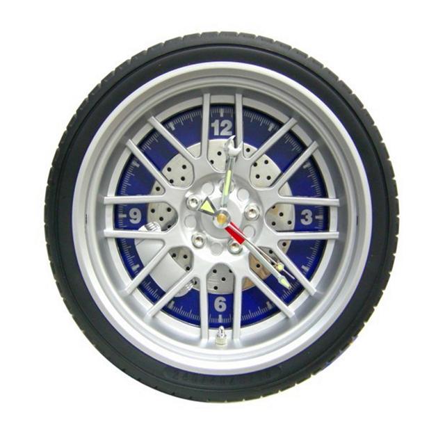 Di-DiDa Creative car clock 10 inch round plastic wall clock Children's room desk clock Personalized Racing car theme gift watch