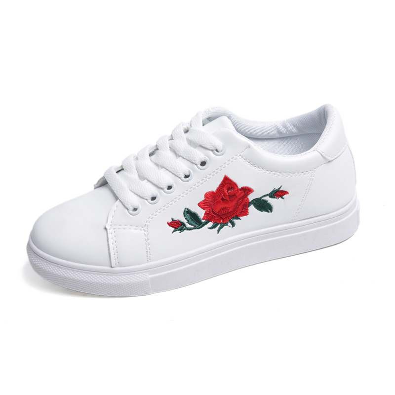 2017 New brand women flat casual shoes Embroider Floral Rose flower shoes Lace-up Breathable PU Leather Flat shoes 36-40 Y108 summer women shoes casual cutouts lace canvas shoes hollow floral breathable platform flat shoe sapato feminino lace sandals