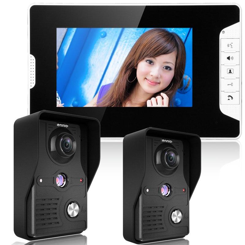 MOUNTAINONE 7 Inch Video Door Phone Doorbell Intercom Kit 2-camera 1-monitor Night Vision Free Shipping