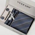 Marca gravatas Listradas gravata azul marinho e verde neon bege & caixa de presente lenço abotoaduras + gravata clipe 5 conjuntos para homens