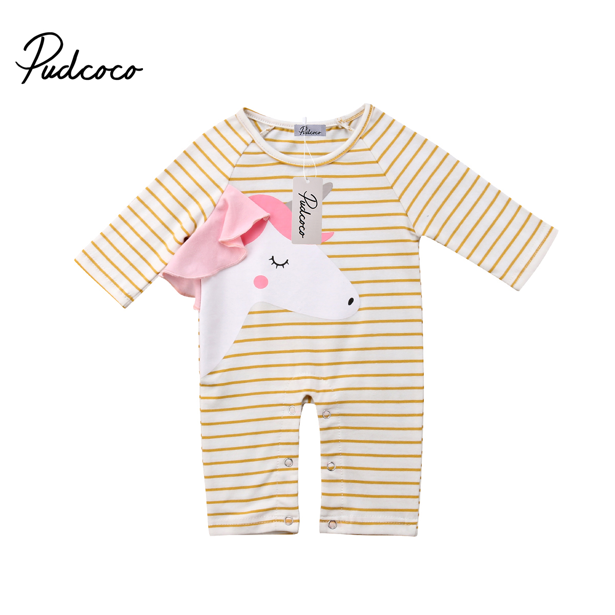 Pudcoco Baby Gilr   Romper   Striped One Piece Suit Baby Girl Clohtes Cartoon Unicorn Sweet Long Sleeve   Rompers   Autumn Fits Costume