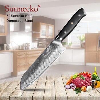 """SUNNECKO 7 """"pouces Santoku couteau cuisine Chef couteaux japonais damas VG10 acier lame tranchante G10 ponçage poignée outils de coupe"""