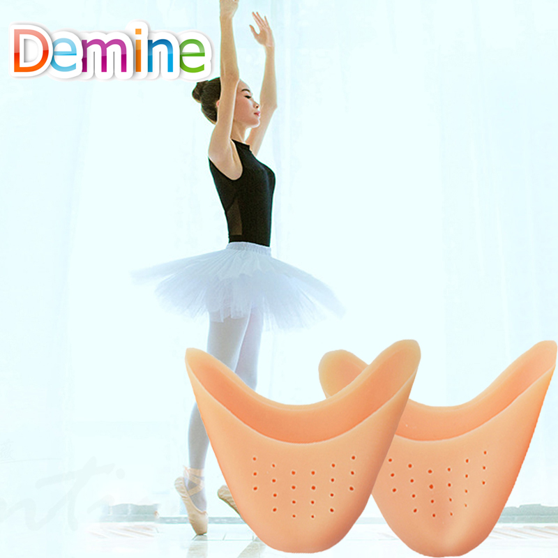 Demine Silicone Gel Toe Pads Soft Ballet Pointe Dance Shoes Toes Covers Foot Tip Cushion Insoles for Dancer Breathable Inserts