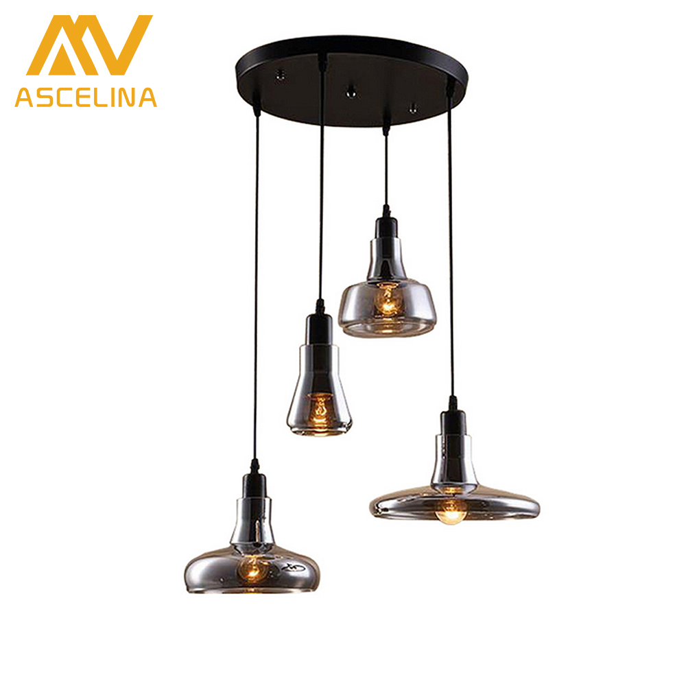 ASCELINA Vintage Clear Glass Pendant Light Copper Hanging Lamps E27 90v/220V Light Bulbs For Home Decor Restaurant Luminarias new simple clear crystal pendant light led hanging lampsindoor light home for home decor restaurant luminarias ce fcc vallkin
