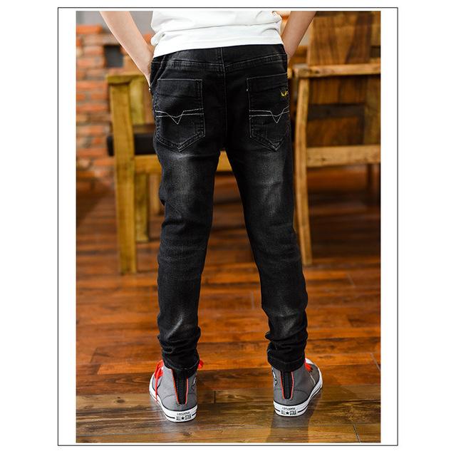 2017 Autumn Boy Pants Big Virgin Boys Jeans Children Clothing Denim Trousers Baby Boys Pants Pockets Fall 6-15T Cowboy Toddler