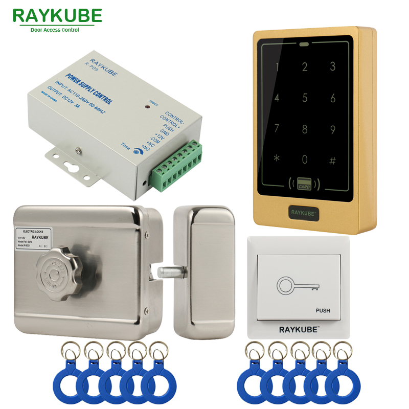RAYKUBE Electric Motor Lock Access Control System Kit + Access Control Touch Keypad FRID Reader+Exit Button+ID Keyfobs RAYKUBE Electric Motor Lock Access Control System Kit + Access Control Touch Keypad FRID Reader+Exit Button+ID Keyfobs