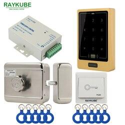 RAYKUBE silnik elektryczny System kontroli dostępu do zamka zestaw + zestaw kontroli dostępu dotykowy klawiatura czytnik rfid + przycisk wyjścia + ID piloty