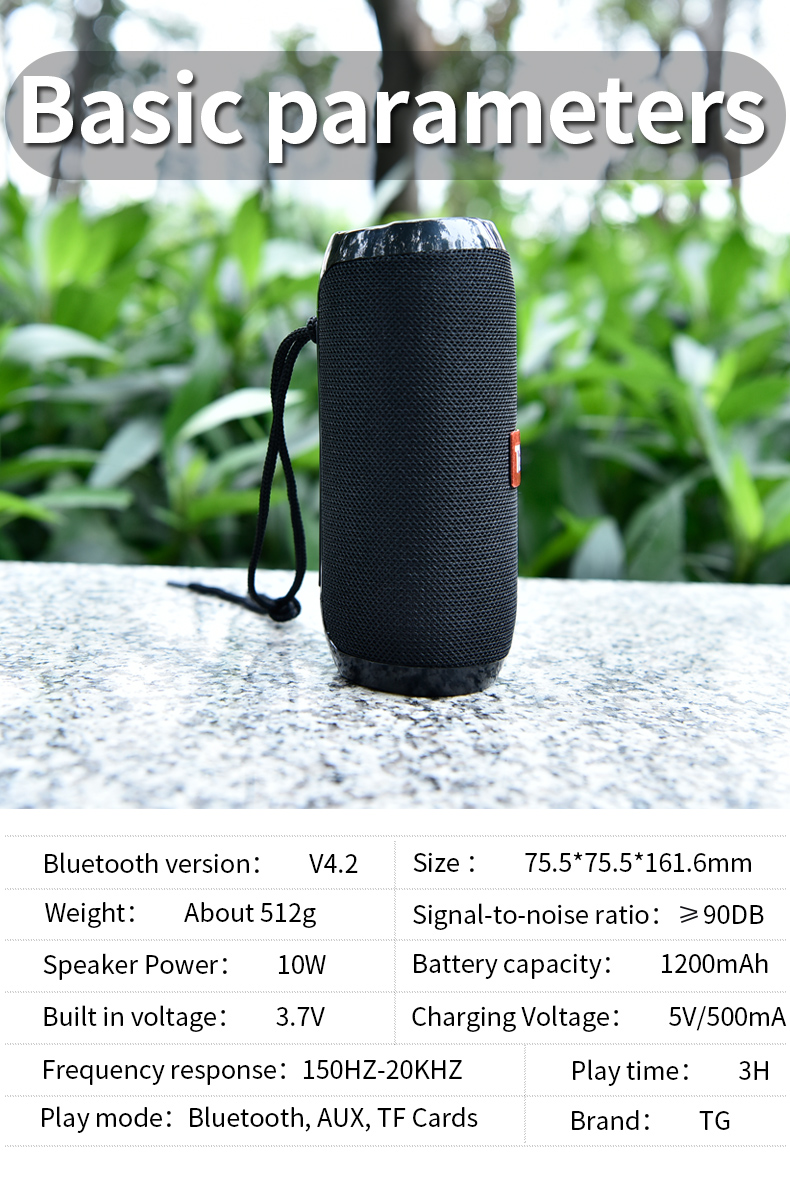 TG117 Bluetooth Waterproof Speaker For Outdoors With TF Card Support FM Radio And Aux Input 16