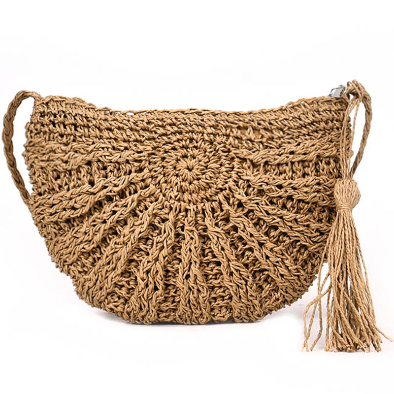 цена на Women small Semicircle Tassel Knitting Straw bag Summer Travel Rattan Tote Knitted Hand Bag Girls Shoulder Tote Keys Coin bag