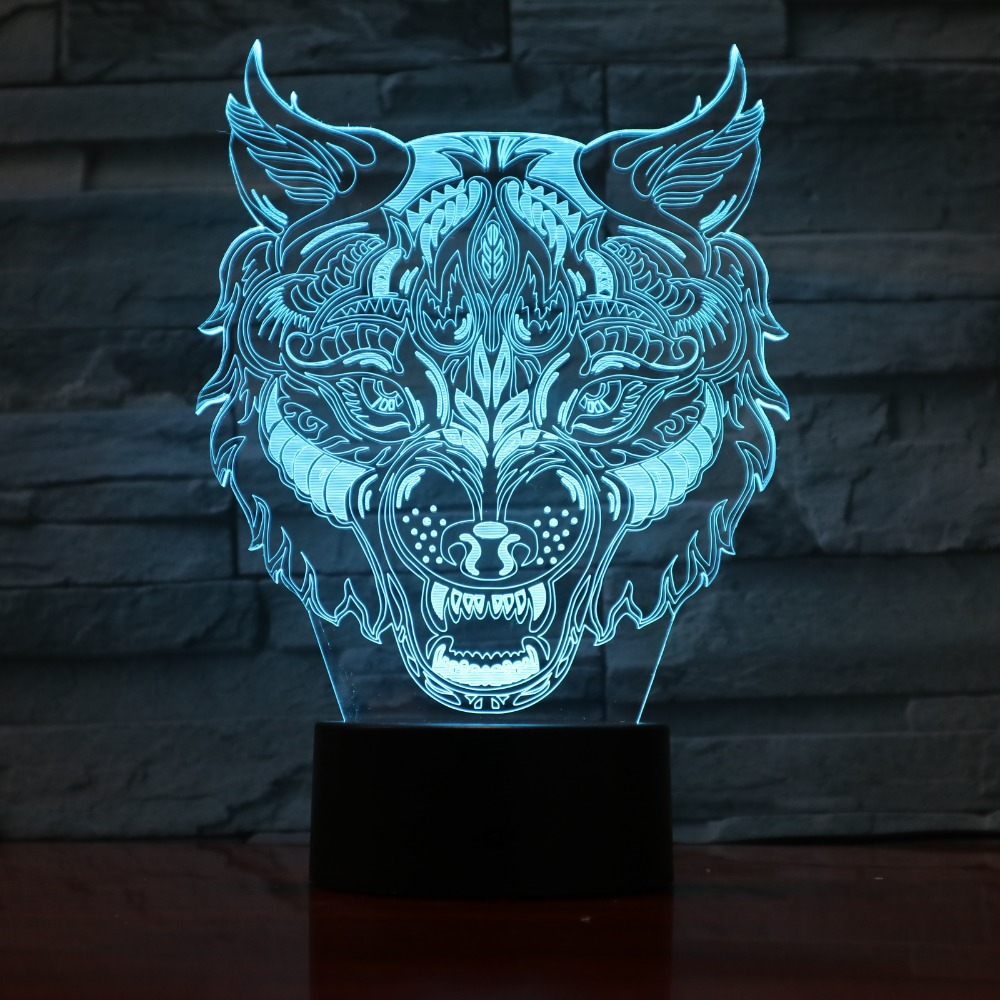 3D Visualization Abstract illusion LED Night Light Lamp 7 Color Night Stand Desk